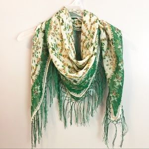 H&M Fringed Floral Scarf Green Yellow Lightweight